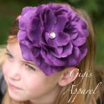 Ободок Gigis розовый с фиолетовой розой